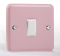 Varilight Pastel 1 Gang 10A 1 or 2 way Rocker Light Switch Rose Pink XY1W.RP